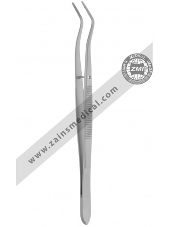 Dressing pliers double bended with fine and serrated beack