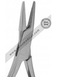 Mathieu pliers with serrated narrow tip